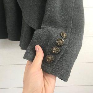 torrid Jackets & Coats - Torrid | Gray Ruffle Cascading Open Front Blazer